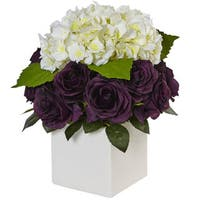 Nearly Natural Silk Artificial Hydrangea and Rose in White Cube Planter