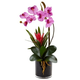 Nearly Natural Faux Orchid and Bromeliad in Glossy Black Cylinder