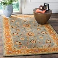 Safavieh Heritage Traditional Oriental Hand-Tufted Wool Blue/ Orange Area Rug - 9' x 12'