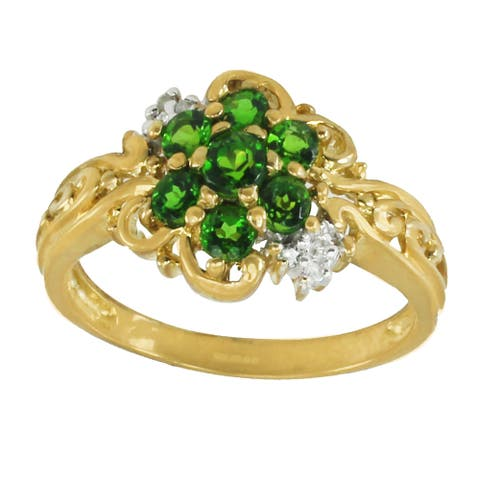 Gems en Vogue 10K Yellow Gold Chrome Diopside & Diamond Ring