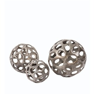 Privilege Silvertone Aluminum 3-piece Decorative Spheres
