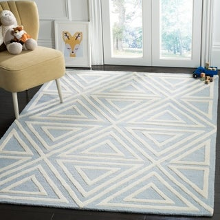 Safavieh Kids Transitional Geometric Hand-Tufted Wool Blue/ Ivory Area Rug - 8' x 10'