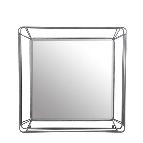 Privilege Silver Iron-framed Beveled Wall Mirror