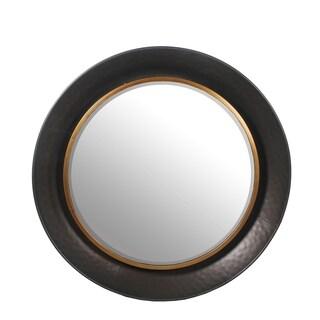 Charcoal Metal Large Round Beveled Mirror