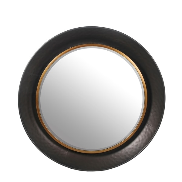 Charcoal Metal Large Round Beveled Mirror - Gun Metal