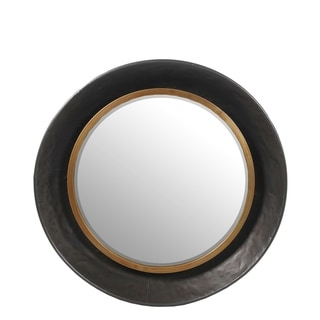 Privilege Small Round Beveled Mirror - Gun Metal