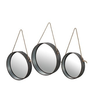 Round Beveled Glass Mirror Set (3 piece)