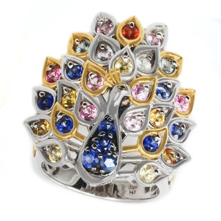 Michael Valitutti Palladium Silver Peacock Multi Sapphire Ring