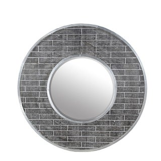 Privilege Grey/Silvertone Round Beveled Mirror