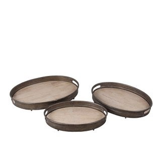 Privilege International Iron and Wood 3-piece Tray Set