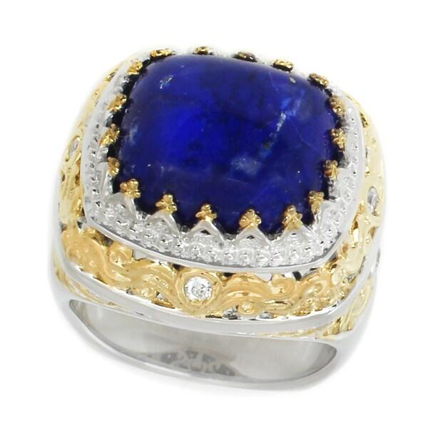 Michael Valitutti Palladium Silver Cushion Lapis Lazuli & White Sapphire Ring