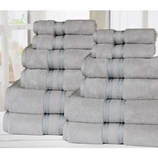 Super Absorb-Zero Twist Soft and Thick 12 Piece Bath Towel set