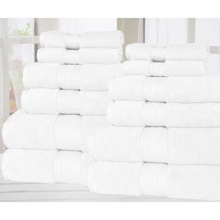Super Absorb-Zero Twist Soft and Thick 12 Piece Bath Towel set (Option: Ivory)
