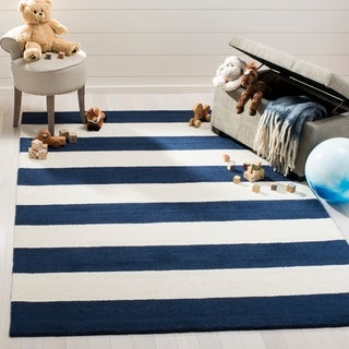 Safavieh Kids Transitional Geometric Hand-Tufted Wool Navy/ Ivory Area Rug - 8' x 10'