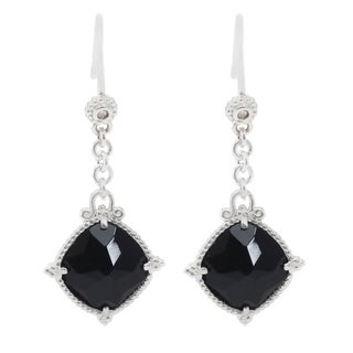 Michael Valitutti 14k White Gold Cushion Black Onyx Dangle Earrings