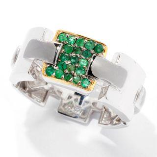 Michael Valitutti Palladium Silver Emerald Link Design Eternity Men's Band Ring (Option: 13)