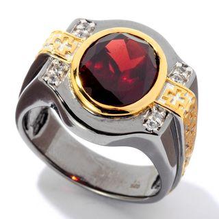 Michael Valitutti Palladium Silver Garnet & White Sapphire Maltese Cross Men's Ring