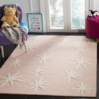 Safavieh Kids Transitional Geometric Hand-Tufted Wool Pink/ Ivory Area Rug - 8' x 10'