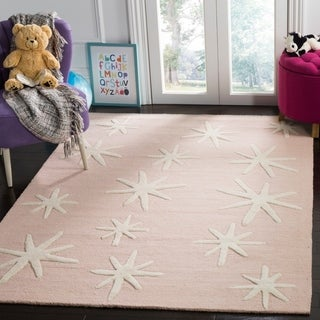 Safavieh Kids Transitional Geometric Hand-Tufted Wool Pink/ Ivory Area Rug (8' x 10')