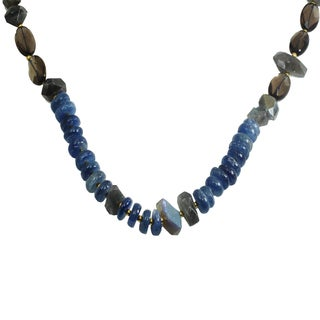 Michael Valitutti Sterling Silver Kynaite, Labradorite & Smoky Quartz Beaded Infinite Necklace