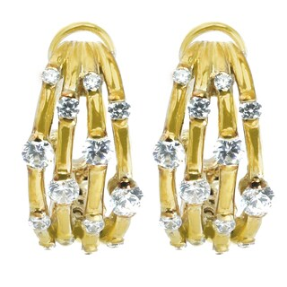 Michael Valitutti Sterling Silver Round Cubic Zirconia Omega Earrings|https://ak1.ostkcdn.com/images/products/16564602/P22896735.jpg?_ostk_perf_=percv&impolicy=medium