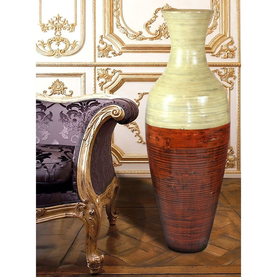 Tall Bamboo Floor Vase Red And Natural