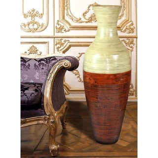 """43"""" Tall Bamboo Floor Vase, Red and Natural"""