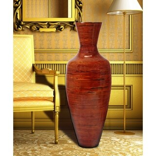 "37.5"" Tall Bamboo Floor Vase, Glossy Red"