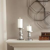 Madison Park Mila Silver Ceramic Candleholders Set of 2