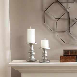 Madison Park Mila Silver Ceramic Candleholders Set of 2