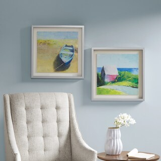 Madison Park Tranquil Coast Blue Printed Watercolor Texture Paper Floating in Shadowbox - Set of 2