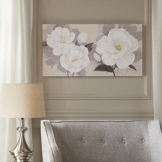 Madison Park Midday Bloom Florals White Hand Paint Embellished Canvas