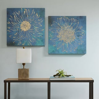 Urban Habitat Iridescent Bloom Blue Gel Coated Canvas with Gold Foil - Set of 2
