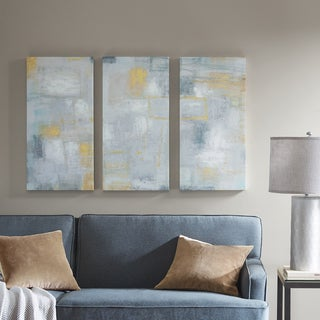 Intelligent Design Abstract Blocks White Gel Coated Hand Embellished Canvas - Set of 3