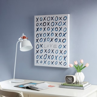 Intelligent Design XO Love Blue Canvas with Silver Foil