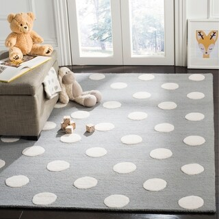 Safavieh Kids Transitional Geometric Hand-Tufted Wool Grey/ Ivory Area Rug - 8' x 10'