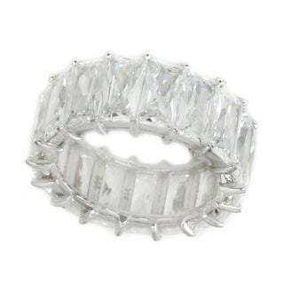 Michael Valitutti Sterling Silver Emerald Cut Cubic Zirconia Eternity Band Ring