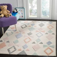 Safavieh Kids Transitional Geometric Hand-Tufted Wool Ivory/ Multi Area Rug - 8' x 10'