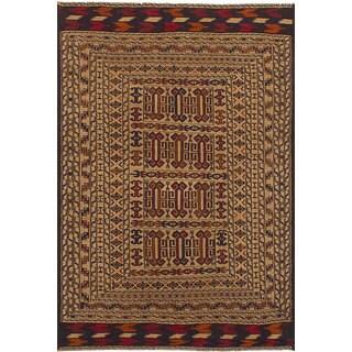 eCarpetGallery Shiravan Sumak Ivory Wool Flatweave Rug (4'3 x 6'7)