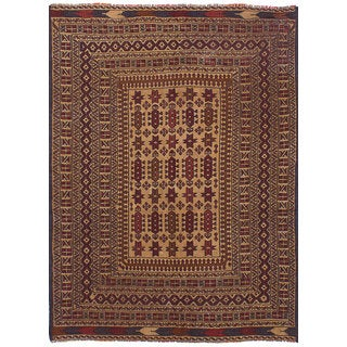 eCarpetGallery Flatweave Brown Wool Shiravan Sumak (4'4 x 6')