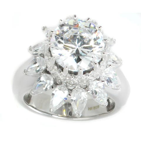 Michael Valitutti Sterling Silver Round & Pearshaped Cubic Zirconia Royal Ring