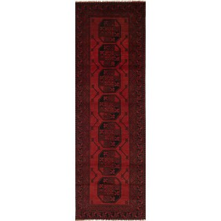 eCarpetGallery Hand-knotted Khal Mohammadi Red Wool Runner Rug (2'6 x 9'3)