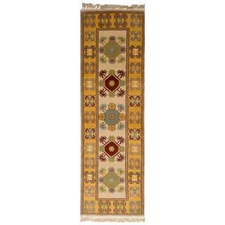 eCarpetGallery Ushak Ivory Wool Hand-knotted Runner Rug (2'7 x 9'1)