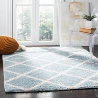 Safavieh New York Shag Contemporary Geometric Blue/ Ivory Area Rug - 5'1 x 7'6
