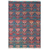?eCarpetGallery Green/Red Sari Silk Rug - 6'4 x 9'5