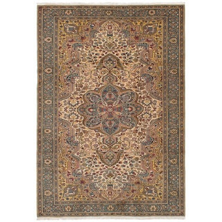 eCarpetGallery Hand-knotted Keisari Ivory Wool Rug - 6'6 x 9'7