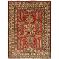 eCarpetGallery Gazni Red Wool Hand-knotted Rug - 3'2 x 4'5