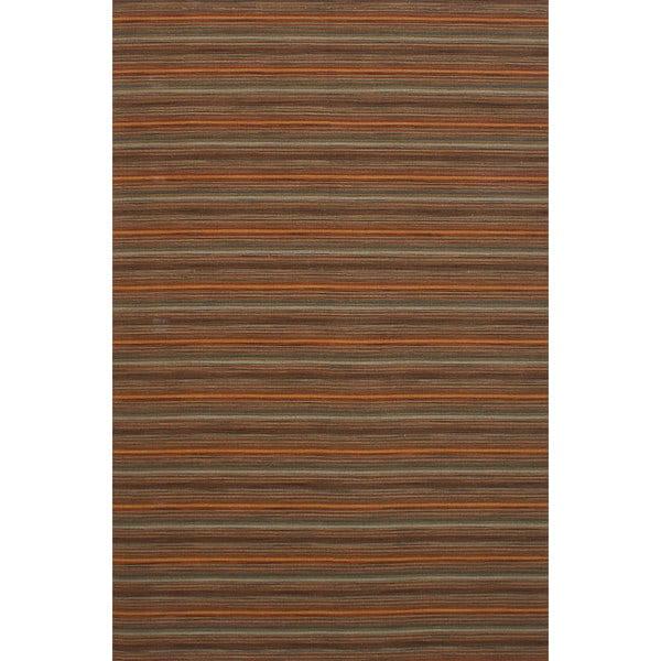 eCarpetGallery Manhattan Brown Wool Flatweave Sumak (6'6 x 9'10)