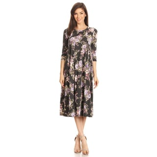 Women's Charcoal Floral Jersey Knit Dress