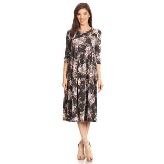 Women's Charcoal Floral Jersey Knit Dress